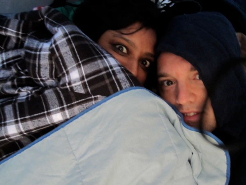 Fatima and Daman inside our tent at Deception Pass Park